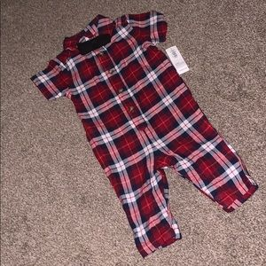 Plaid Button-Front One-Piece for Baby